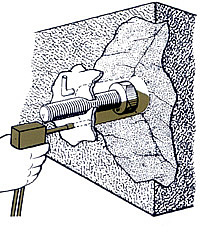 Bolts and other anchors are grouted in place with structural adhesive avoiding air pockets.